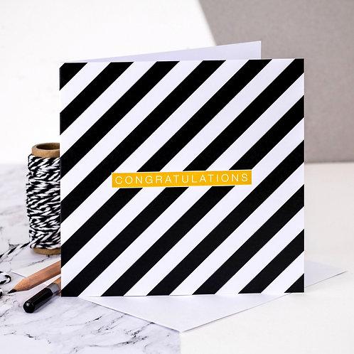 Congratulations Monochrome Stripe Card