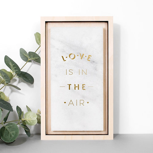 Love is in the Air Gold Marble Wedding Plaque