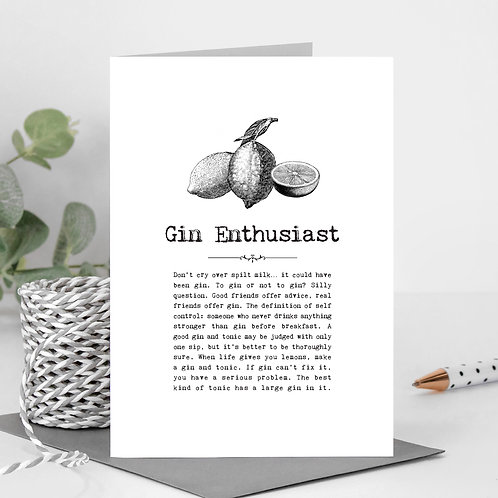 Gin Enthusiast Vintage Words Greeting Card x6