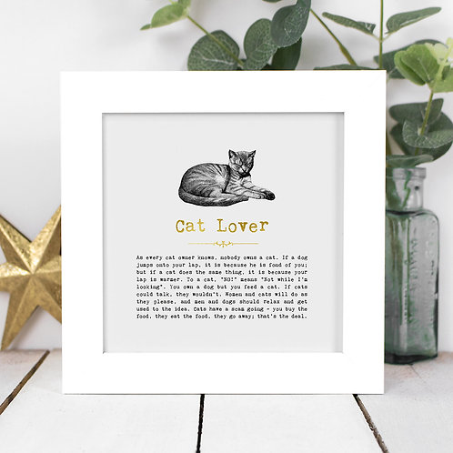 Cat Lover | Mini Foil Print in Box Frame x 3