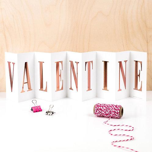 'VALENTINE' Foil Concertina Card x 6