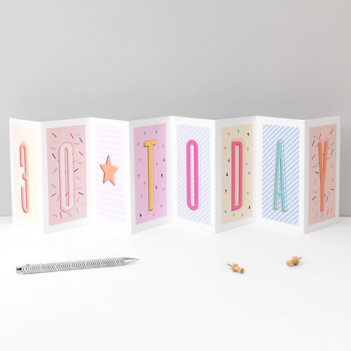 30 Today Funky Confetti Birthday Banner Card x 6