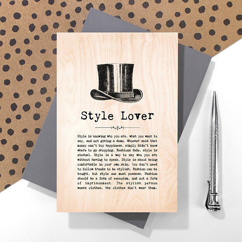Style Lover Personalised Wooden Keepsake Card