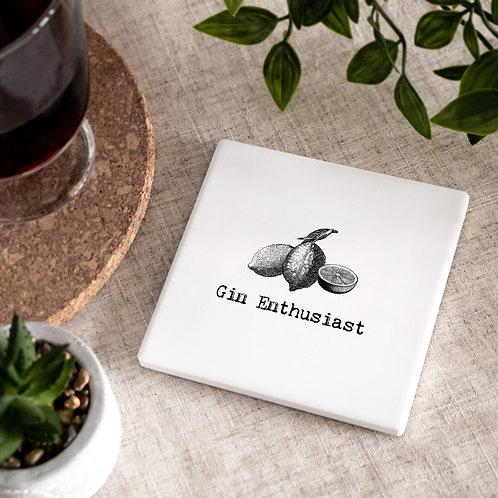Gin Vintage Words Ceramic Coaster x 3