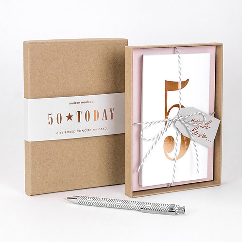 50 Today | Luxury Boxed Concertina Card x 3