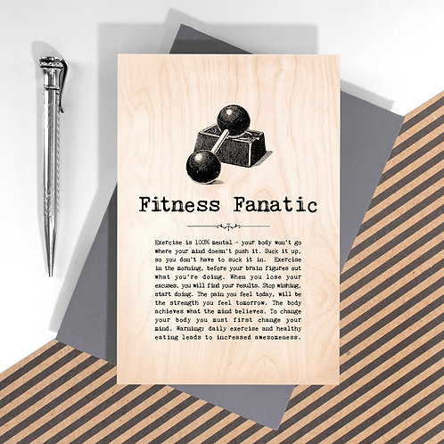 Fitness Fanatic Wooden Keepsake Card for Gym Lovers