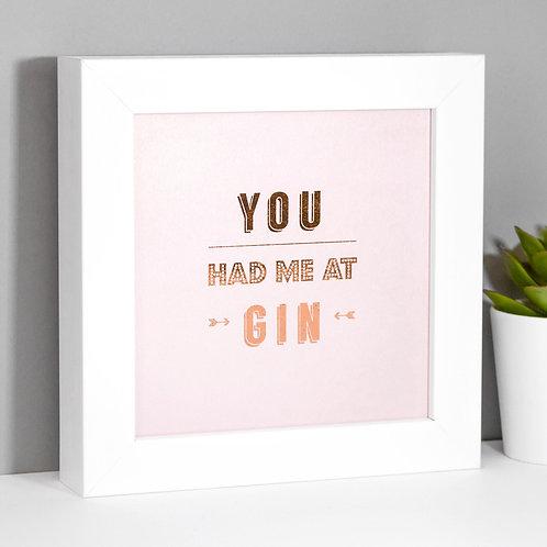 Gin Rose Gold/Pink Framed Print x 3