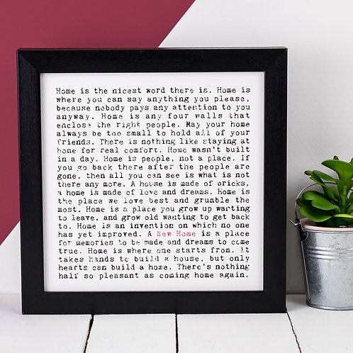 New Home Wise Words Quotes Print