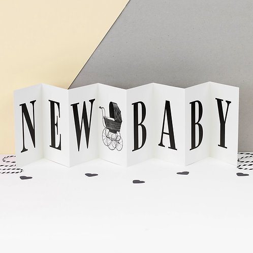 New Baby Monochrome Concertina Card x 6