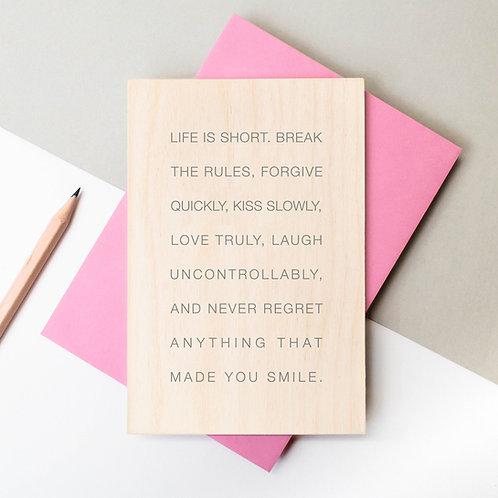Life is Short Wooden Keepsake Card