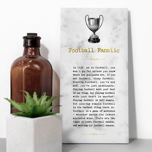 Football Fanatic Vintage Marble Stone Plaque x 3