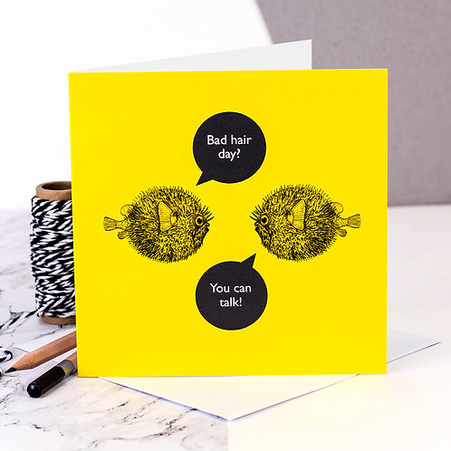 Bad Hair Day? Funny Fish Card x 6