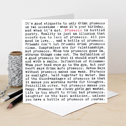 Prosecco Wise Words Quotes Card x 6