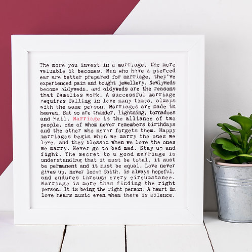 Marriage Wise Words Print x 3