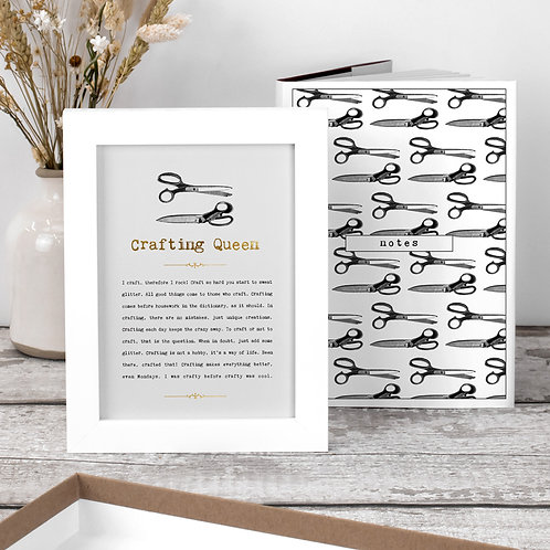 Crafting Queen Gift Set with Notebook and Print