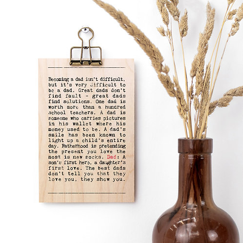 Dad Wise Words Wooden Plaque with Hanger x 3