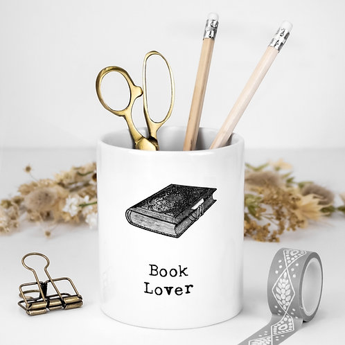 Book Lover White Ceramic Pen Pot