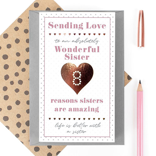 My Wonderful Sister 8 Reasons Fold Out Quotes Card