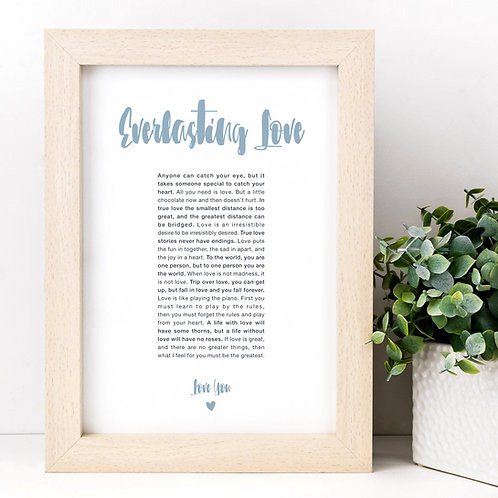 Everlasting Love A4 Anniversary Quotes Print