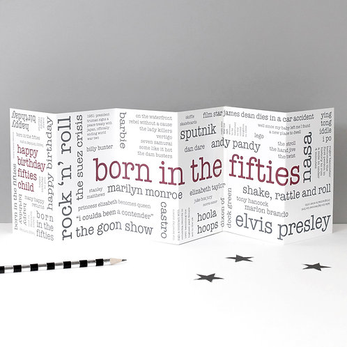Born in the Fifties Word Cloud Concertina Card x 6
