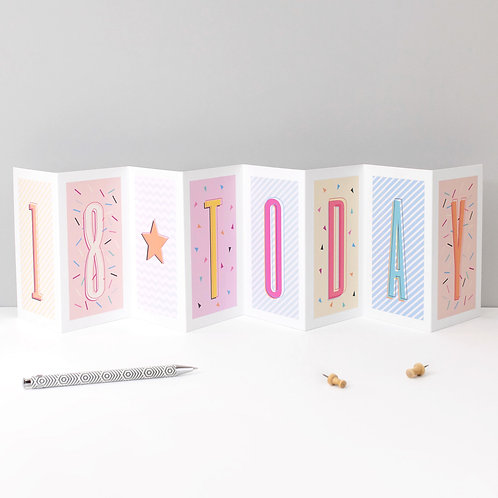18 Today Funky Confetti Geo Concertina Card x 6