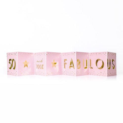 Fabulous 50th Birthday Mini Pink Concertina Card