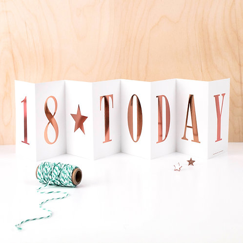 18th Birthday Rose Gold Foil Concertina Card
