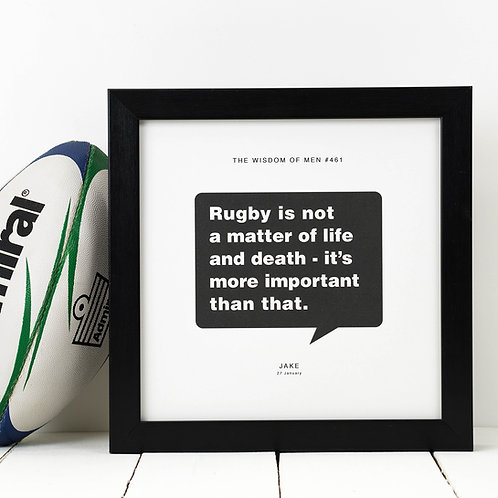 Personalised Gift for Him | Rugby Print