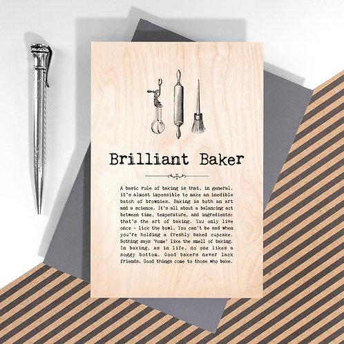 Brilliant Baker Personalised Wooden Keepsake Card