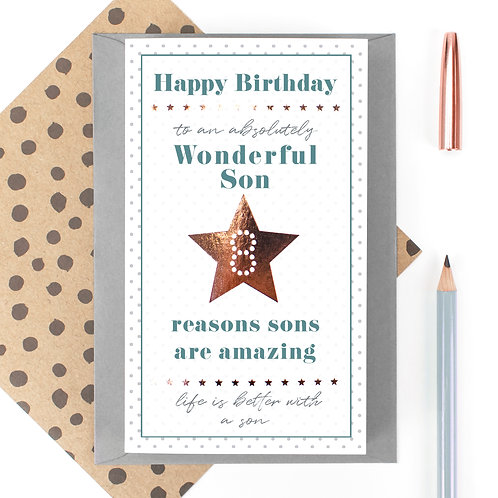 My Wonderful Son 8 Reasons Birthday Quotes Card
