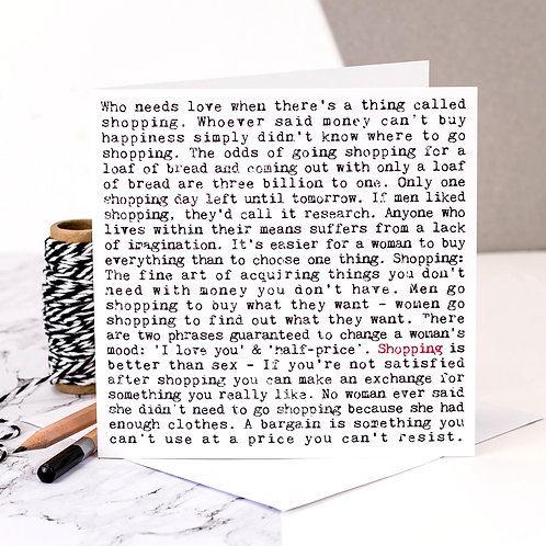 Shopping Wise Words Quotes Card