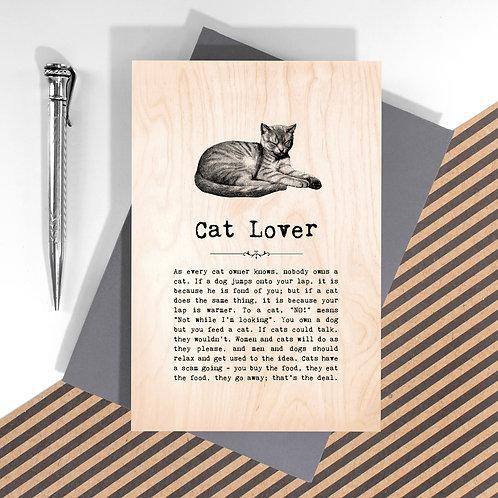 Cat Lover Mini Wooden Plaque Card x 6
