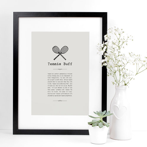 Tennis Lover A4 Quotes Print