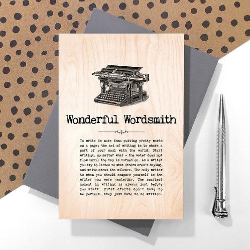 Wonderful Wordsmith Wooden Keepsake Card for Writers