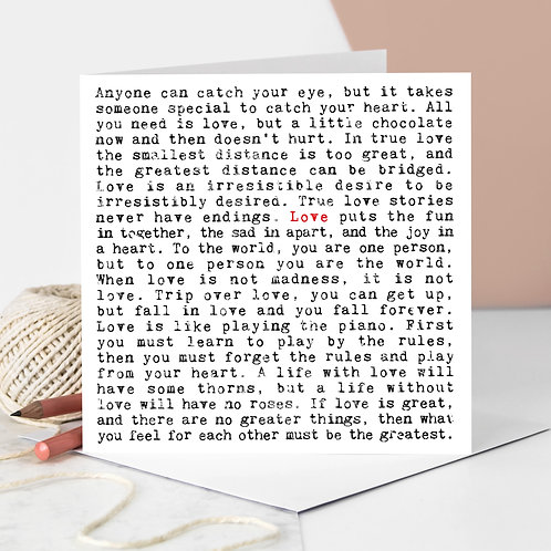 Love Quotes Romantic Greeting Card for Couples