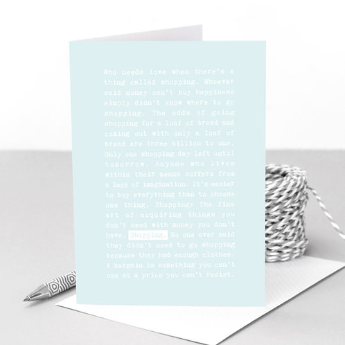 Shopping Pastel Blue Funny Quotes Card for Her