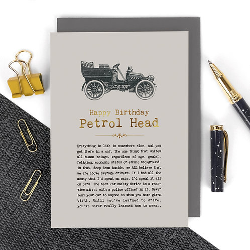 Petrol Head Vintage Car Birthday Card x 6