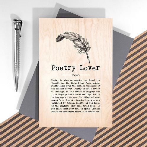 Poetry Lover Personalised Wooden Keepsake Card