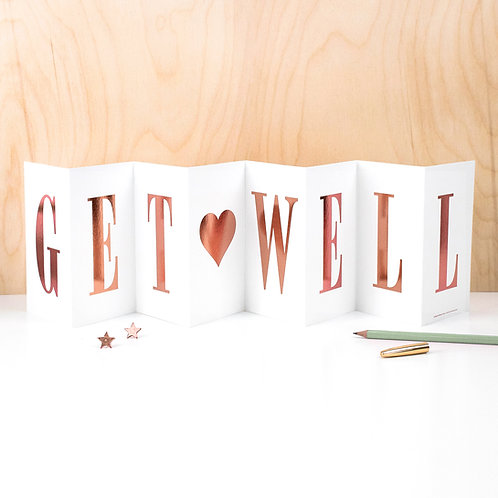 Thinking of You 'GET WELL' Foil Concertina Card