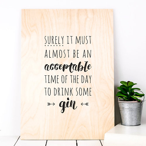 Time for Gin Funny A4 Wooden Plaque Print x 3