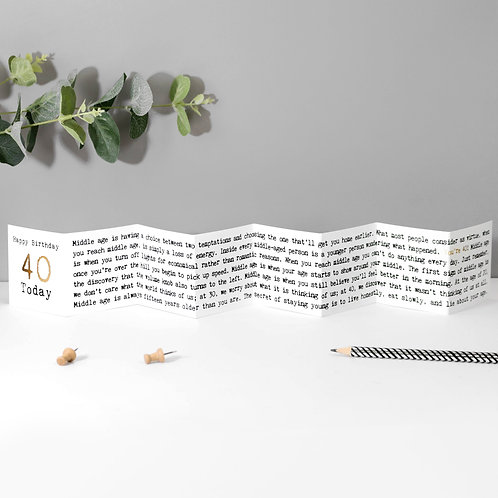 40th Birthday Mini Fold Out Greeting Card
