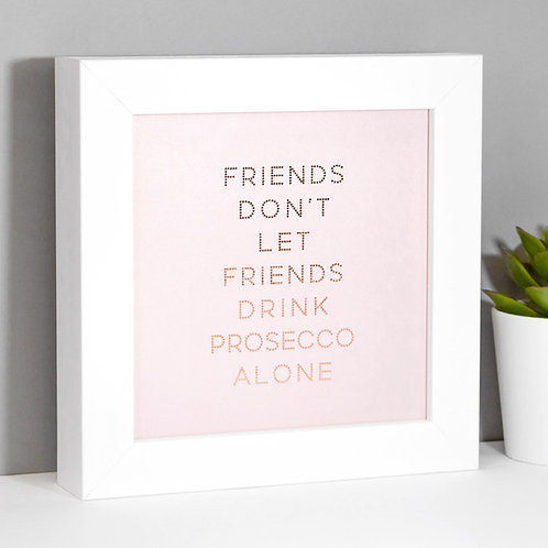 Prosecco Friends Rose Gold Framed Print