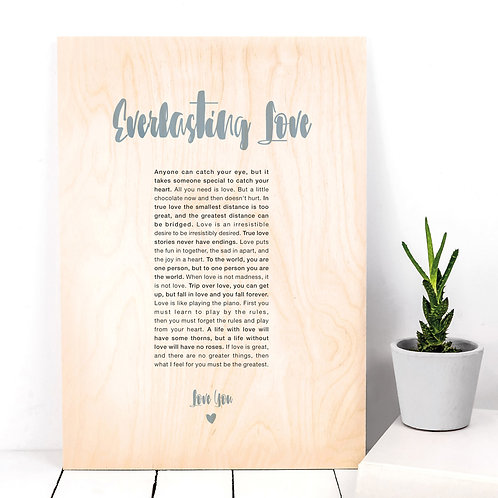 Love You Anniversary Wooden Plaque with Quotes