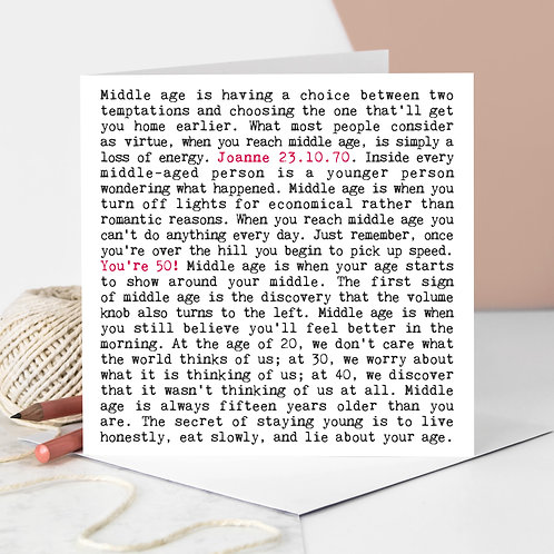50th Birthday Wise Words Quotes Card
