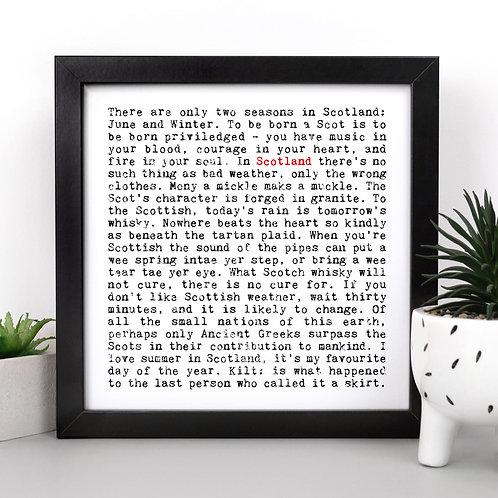 Scotland | Wise Words Scottish Quotes Print