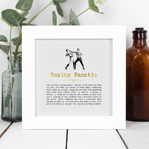 Boxing Fanatic Personalised Framed Quotes Print