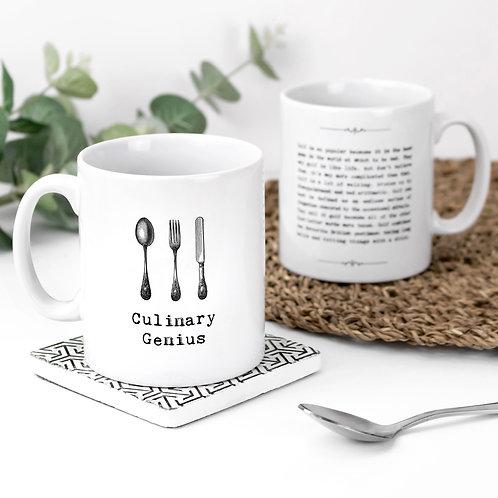 Culinary Genius Vintage Words Quotes Mug x 3