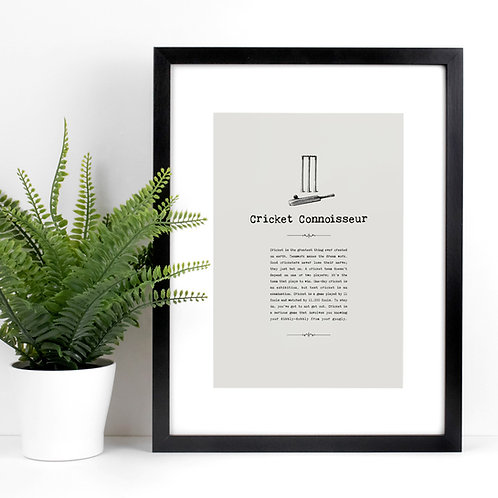 Cricket Connoisseur A4 Sports Themed Print with Quotes