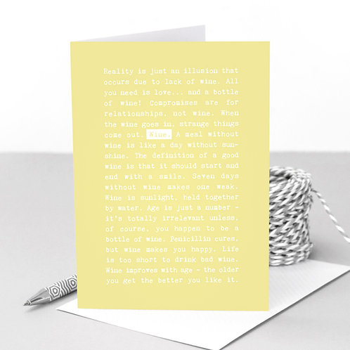 Wine Quotes Funny Pastel Greeting Card