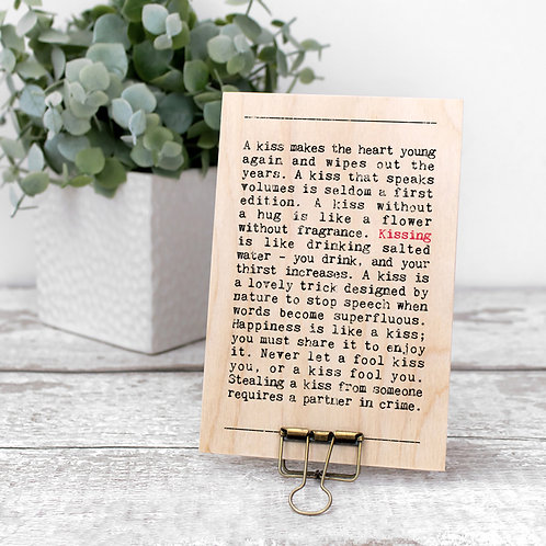 Kissing Quotes Wooden Sign with Hanger